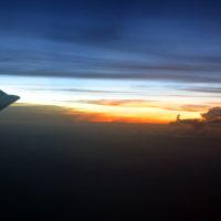 機内からの夕日